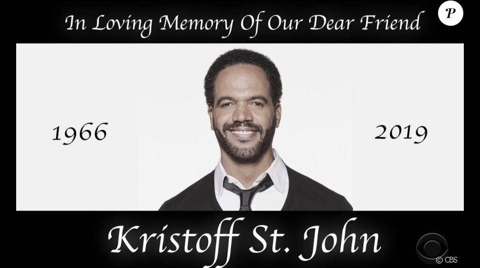 """Hommage à  Kristoff St. John pour sa dernière apparition dans """"Les Feux de l'amour"""" diffusée le 6 février 2019 sur CBS."""