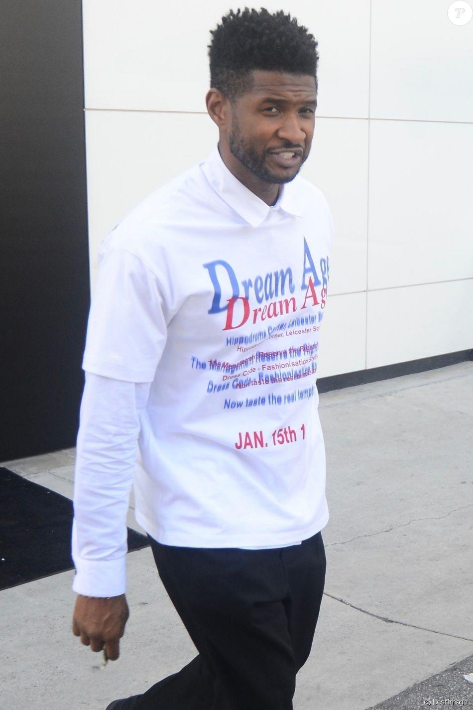 Usher à la sortie de la boutique Chanel à Beverly Hills. Los Angeles, le 24 décembre 2018.