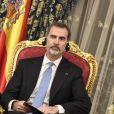 Le roi Felipe VI d'Espagne et le roi Mohamed VI du Maroc ont donné une conférence de presse au Palais Royal à Rabat, le 13 février 2019.