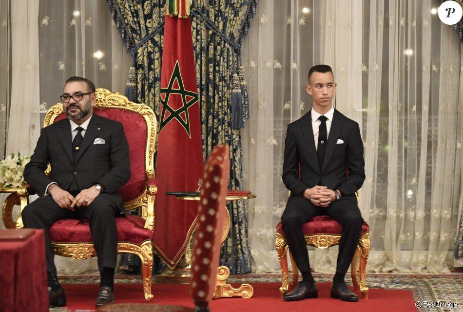 Le price héritier Moulay El Hassan était présent auprès de son père le roi Mohamed VI du Maroc lors des entretiens et de la conférence de presse donnée avec le roi Felipe VI d'Espagne au Palais Royal à Rabat, le 13 février 2019.