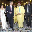 Le roi Felipe VI et la reine Letizia d'Espagne, superbe dans une tenue signée Felipe Varela, étaient les invités du roi Mohammed VI du Maroc et de ses proches (le prince héritier Moulay El Hassan, le prince Moulay Rachid, les princesses Lalla Meryem, Lalla Hasna, Lalla Asmae et Lalla Oum Keltoum) pour un dîner d'Etat au palais royal à Rabat le 13 février 2019 dans le cadre de leur visite officielle de deux jours au Maroc.