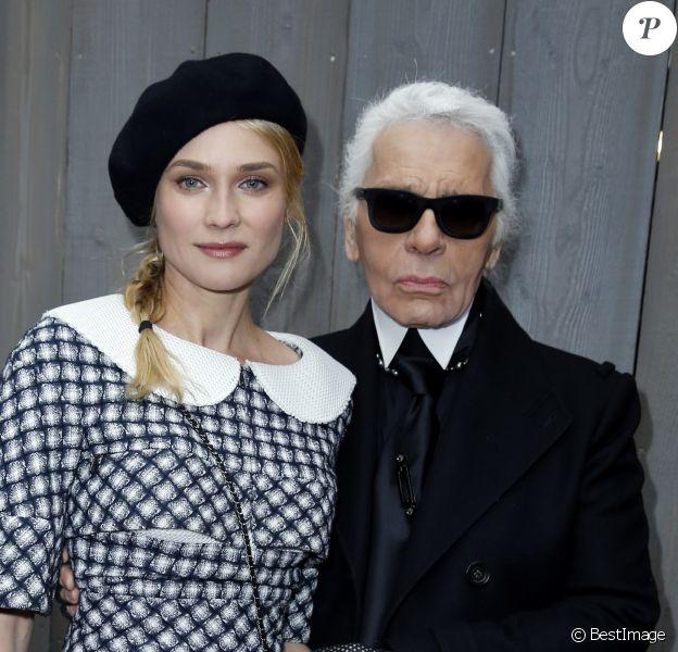 Diane Kruger et Karl Lagerfeld - Défilé de mode Chanel haute-couture printemps ete 2013 au Grand Palais à Paris. Le 22 janvier 2013