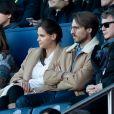 Ophélie Meunier et son mari Mathieu Vergne ont assisté au match de Ligue 1 entre le Paris Saint-Germain et Nîmes au Parc des Princes le 23 février 2019.