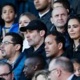 Jalil Lespert et Aïda Touihri lors du match de Ligue 1 entre le Paris Saint-Germain et Nîmes au Parc des Princes le 23 février 2019.