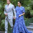 Le prince Harry et Meghan Markle, duchesse de Sussex, enceinte et en robe Carolina Herrera, ont été reçus par le roi Mohammed VI du Maroc et sa famille à la résidence royale à Salé le 25 février 2019 pour une cérémonie du thé et une audience privée, dernier engagement de leurs visite officielle au Maroc.