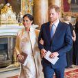 Le prince Harry, duc de Sussex, et Meghan Markle (enceinte), duchesse de Sussex - La famille royale d'Angleterre lors de la réception pour les 50 ans de l'investiture du prince de Galles au palais Buckingham à Londres. Le 5 mars 2019.