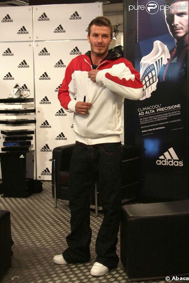 David Beckham lors de l'inauguration de la boutique Adidas à son nom le 23 février 2009