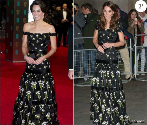 Kate Middleton portant la même robe Alexander McQueen, avec deux versions des manches, lors des BAFTA Awards en 2017 et du gala de la National Portrait Gallery en 2019.