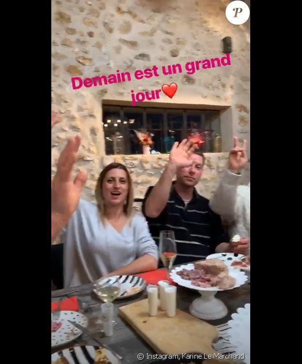 """Karine Le Marchand et les agriculteurs de """"L'amour est dans le pré 2019"""" avant l'ouverture des courriers - mardi 19 mars 2019, sur Instagram"""