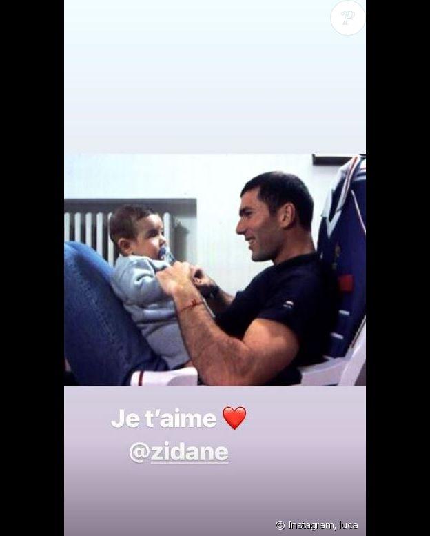Luca Zidane publie une photo de lui bébé avec son père Zinédine Zidane. Instagram, le 19 mars 2019.