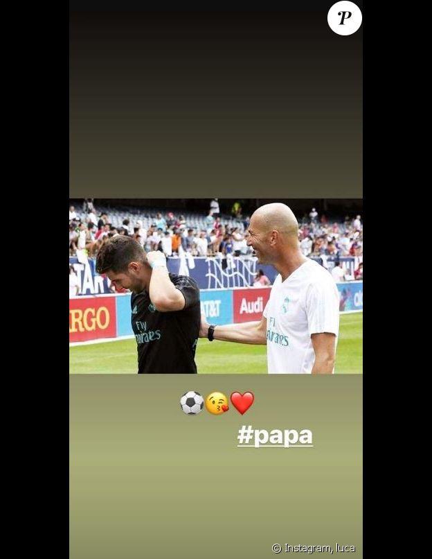 Luca Zidane publie une photo avec son père Zinédine Zidane sur Instagram, le 19 mars 2019.