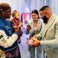 Kylie Jenner, Travis Scott et DJ Khaled à la grande fête d'anniversaire organisée pour le premier anniversaire de Stormi le 9 février 2019.