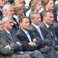 Pierre et Jean Sarkozy lors de la cérémonie en hommage à ceux qui sont morts pour la France. Cimetière de Colleville-sur-mer, le 6 juin.