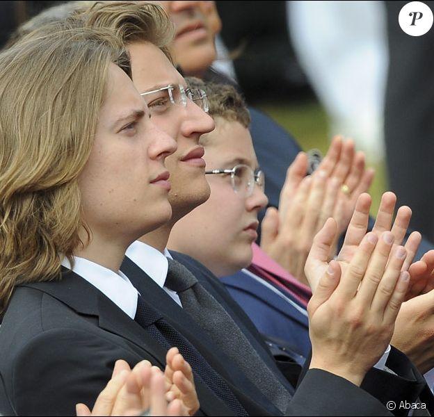 Pierre, Jean, Louis Sarkozy lors de la cérémonie en hommage à ceux qui sont morts pour la France. Cimetière de Colleville-sur-mer, le 6 juin.