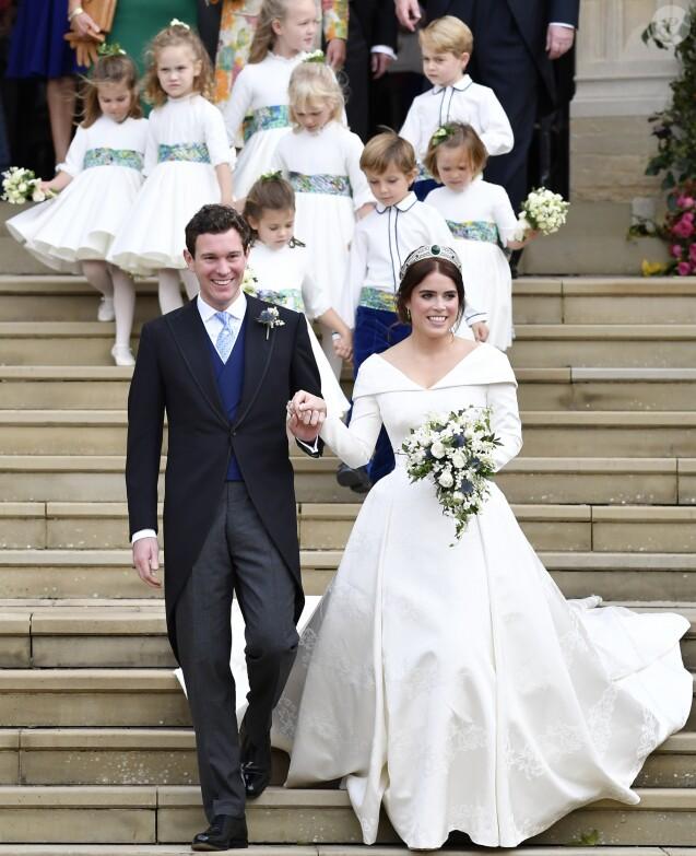 Sorties après la cérémonie de mariage de la princesse Eugenie d'York et Jack Brooksbank en la chapelle Saint-George au château de Windsor le 12 octobre 2018.