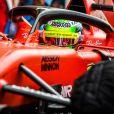 Mick Schumacher finit 2ème des essais privés de F1 dans la Ferrari SF90 sur circuit de Sakhir, à Bahreïn, le 2 avril 2019.