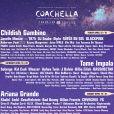 L'énorme programmation du festival Coachella 2019 à Indio en avril.