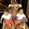 Beyoncé et ses enfants Sir et Rumi. Juillet 2018.