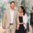 """Le prince Harry, duc de Sussex et Meghan Markle, duchesse de Sussex, enceinte, en visite au """"Andalusian Gardens"""" à Rabat lors de leur voyage officiel au Maroc, le 25 février 2019."""