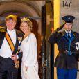 Le roi Willem-Alexander des Pays-Bas et la reine Maxima des Pays-Bas lors du dîner de gala annuel en l'honneur du corps diplomatique au palais royal à Amsterdam le 9 avril 2019.