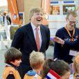 Le roi Willem-Alexander des Pays-Bas lors de l'ouverture des King's Games à l'école Arke à Lemmer. Le 12 avril 2019  Lemmer, 12-04-2019 King Willem-Alexander opens King's Games at Arke school Lemmer.12/04/2019 - Lemmer