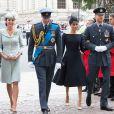 Kate Catherine Middleton, duchesse de Cambridge, le prince William, duc de Cambridge, Meghan Markle, duchesse de Sussex (habillée en Dior Haute Couture par Maria Grazia Chiuri) et le prince Harry, duc de Sussex - Arrivées de la famille royale d'Angleterre à l'abbaye de Westminster pour le centenaire de la RAF à Londres. Le 10 juillet 2018