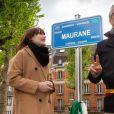 Exclusif - Lou Villafranca, la fille de Maurane, et Bernard Clerfayt, maire de Schaerbeek-Inauguration du square Maurane, un an après sa mort, à Schaerbeekprès de Bruxelles, Belgique, le 7 mai 2019. © Alain Rolland / Imagebuzz / Bestimage