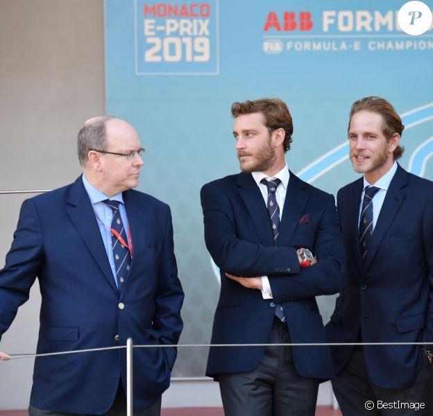 Le prince Albert II de Monaco, Pierre Casiraghi, Andrea Casiraghi - 3ème Monaco E-Prix, Monaco, le 11 mai 2019. © Bruno Bebert / Bestimage
