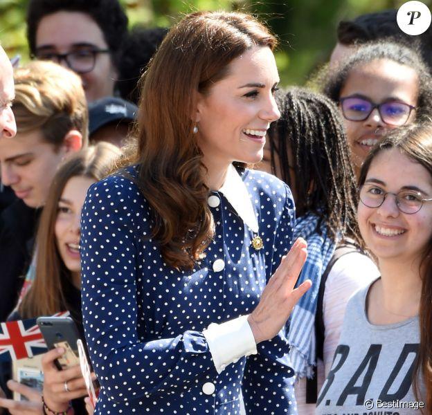 Catherine (Kate) Middleton, duchesse de Cambridge, se rend au Bletchley Park pour assister à l'inauguration d'une exposition dans un bâtiment récemment rénové du Teleprinter Building, à l'occasion de son 75e anniversaire du débarquement. Bletchley, 14 mai 2019.