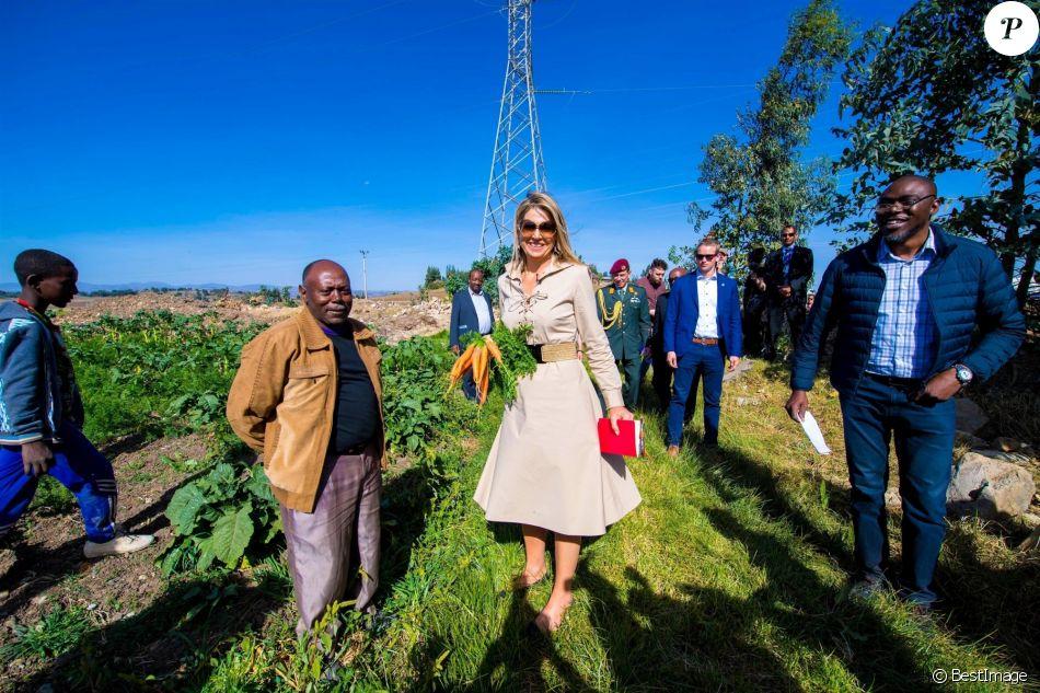 La reine Maxima des Pays-Bas en mission en Ethiopie pour la finance inclusive pour le développement, rencontrant le 14 mai 2019 des agriculteurs dans la région de Debre Berhan.