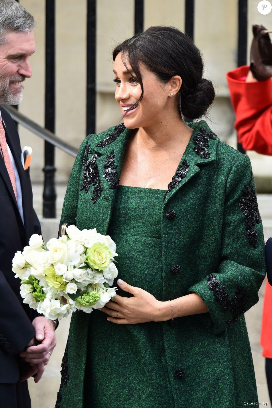 Meghan Markle, duchesse de Sussex, enceinte, à la sortie de Canada House après une cérémonie pour la Journée du Commonwealth à Londres le 11 mars 2019.