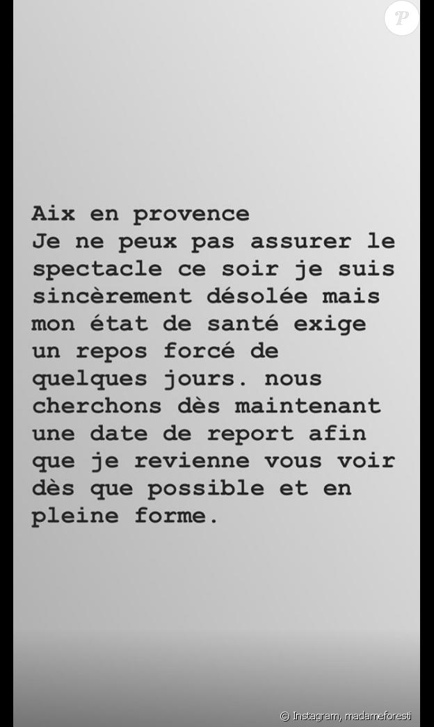 Florence Foresti annule son spectacle d'Aix-en-Provence ce 21 mai 2019.