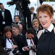 """Natacha Polony (habillée en Karl Lagerfeld) - Montée des marches du film """"Pour une poignée de dollars"""" pour la cérémonie de clôture du 67 ème Festival du film de Cannes. Le 24 mai 2014."""