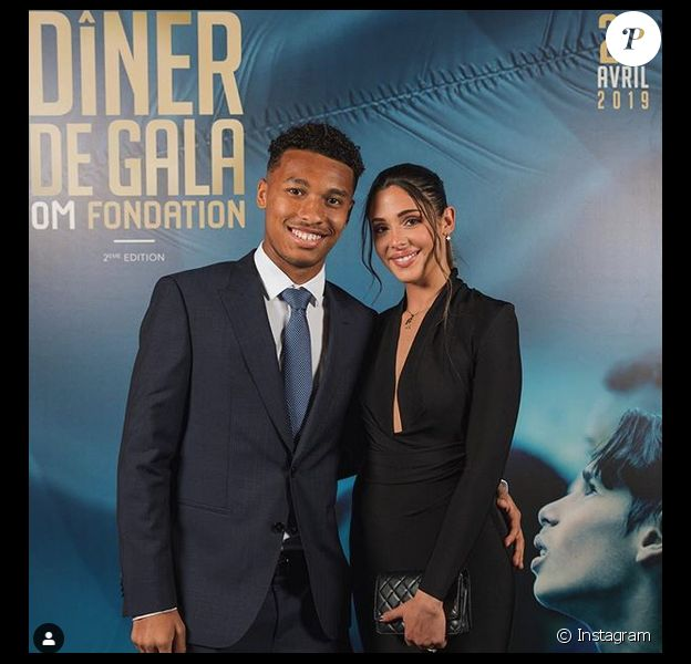 Coralie Porrovecchio et Boubacar Kamara au dîner de gala OM Fondation. Avril 2019.