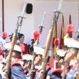 Le roi Felipe VI et la reine Letizia d'Espagne lors du défilé militaire de la Journée des forces armées à Séville, en Espagne, le samedi 1er juin 2019.