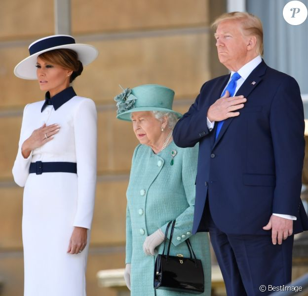 La reine Elisabeth II d'Angleterre, Donald Trump et sa femme Melania - Le président des Etats-Unis et sa femme accueillis au palais de Buckingham à Londres. Le 3 juin 2019