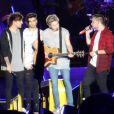 """Louis Tomlinson, Niall Horan, Liam Payne, Zayn Malik - Le groupe One Direction en concert à Adelaïde en Australie dans le cadre de leur tournée """"On The Road Again"""", le 17 février 2015."""