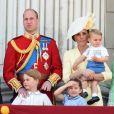 Le prince Louis de Cambridge, troisième enfant du prince William et de Kate Middleton, duchesse de Cambridge, assistait pour la première fois le 8 juin 2019 à la parade Trooping the Colour, depuis le balcon du palais de Buckingham à Londres.