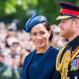 Meghan Markle, duchesse de Sussex, et le prince Harry, duc de Sussex, lors de la parade Trooping the Colour 2019 au palais de Buckingham, à Londres, le 8 juin 2019.