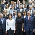La reine Letizia d'Espagne (haut Mango, pantalon Hugo Boss) présidait à la réunion du patronage de la résidence étudiante à Madrid le 6 juin 2019.