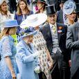 La princesse Beatrice d'York, la reine Elisabeth II d'Angleterre, Sophie Rhys-Jones, comtesse de Wessex et Zara Phillips (Zara Tindall) - La famille royale britannique et les souverains néerlandais lors de la première journée des courses d'Ascot 2019, à Ascot, Royaume Uni, le 18 juin 2019.  Royal family attend the Royal Ascot Horse Races 2019, in Ascot, UK, on June 18, 2019.18/06/2019 - Ascot