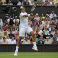 Roger Federer, lors de son premier match à Wimbledon, remporté en trois sets face au Chinois Lu Yen-Hsun, à Londres, le 22 juin 2009 !