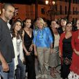 Eva Longoria et Tony Parker recontrent les danseuses du spectacle de flamenco, à Marbella