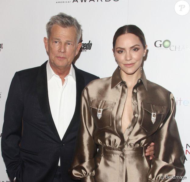 David Foster et sa fiancée Katharine McPhee à la soirée Icon Awards à l'hôtel Beverly Wilshire à Beverly Hills à Los Angeles, le 19 mai 2019