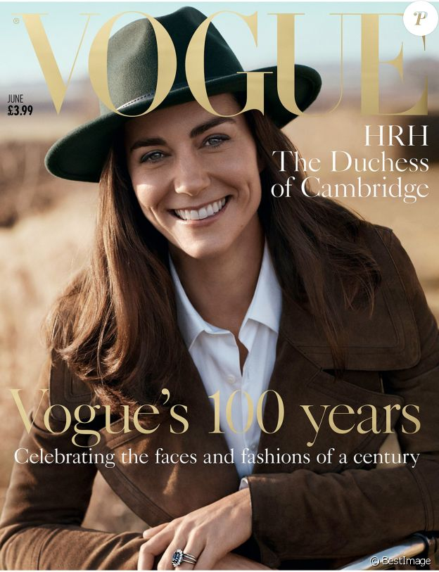 Catherine Kate Middleton, la duchesse de Cambridge en couverture du Vogue édition UK du mois de juin 2016.