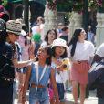 Exclusif  - Zofia Borucka, Jade et Joy Hallyday - Laeticia Hallyday et ses filles Jade et Joy à Disneyland Paris avec la nounou Sylviane, le 26 juin 2019. Elles sont venues passer 2 jours avec Jean Reno, sa femme Zofia Borucka et leurs enfants Cielo et Dean.