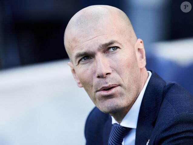 Zinédine Zidane lors du match de football de La Liga opposant le Real Sociedad au Real Madrid au Deportivo Alavés au stade Anoeta à Saint-Sébastien, Espagne, le 12 mai 2019.