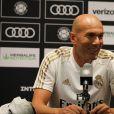 Zinédine Zidane en conférence de presse à Houston le 19 juillet 2019.