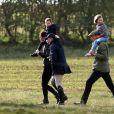 Exclusif - Catherine Kate Middleton, duchesse de Cambridge, la princesse Charlotte, Zara Tindall (Phillips), Le prince William, duc de Cambridge, Mia Tindall lors d'une après-midi de détente en famille en marge des courses de chevaux de Burnham dans le Norfolk le 12 avril 2019.