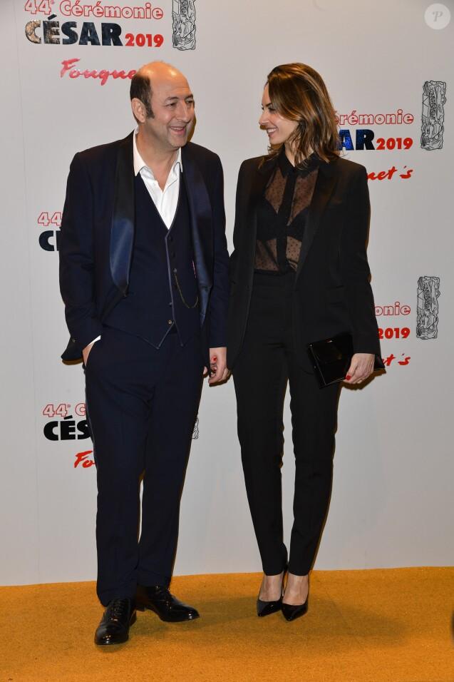 Kad Merad et sa compagne Julia Vignali - Photocall du dîner de la 44ème cérémonie des César au Fouquet's à Paris. Le 22 février 2019 © Pierre Perusseau / Bestimage